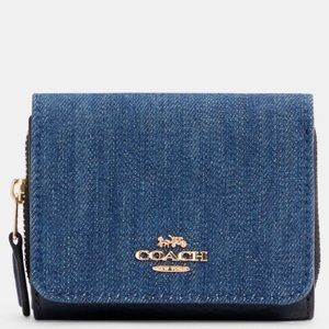 Coach Trifold Wallet Denim Leather